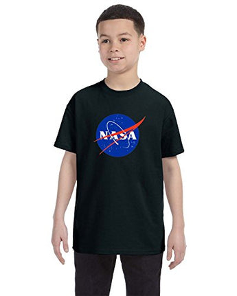 NASA Meatball Logo Youth Shirt Space Shuttle Rocket Science Geek Boys Kids GirlsTee (X-Large, Black)