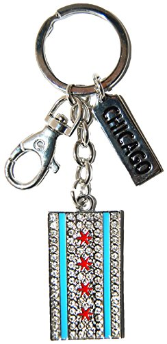 Chicago Flag Rhinestone High End Souvenir Keychain