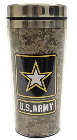 US Army Travel Mug Camouflage Tumbler with Vacuum Insulated Stainless Steel & Printed US Army Emblem | Perfect Souvenir Gift Collection for Men & Women