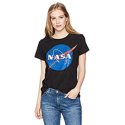 NASA Junior's Blue Logo Short Sleeve Graphic T-Shirt, Black, XL
