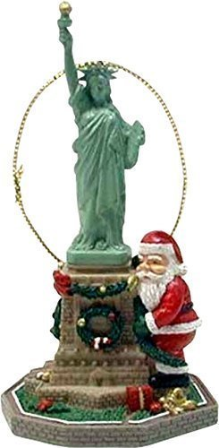 USA Company Santa Hugging Statue of Liberty Christmas Ornament