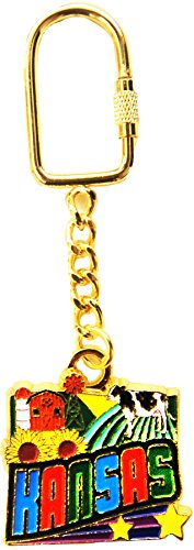 State of Kansas Themed Gold Plated Keychain