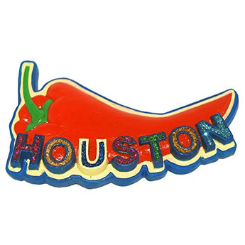 Houston City Red Pepper Glitter Letters Super Magnetic Poly Refrigerator Magnet