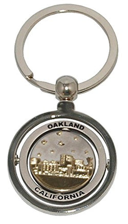 Oakland Souvenir Metal Keychain Featuring the Famous Oakland Skyline That Spins