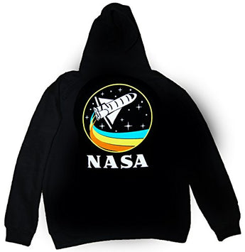 CityDreamShop NASA Retro Rocket-Ship Hooded Sweatshirt (Large)
