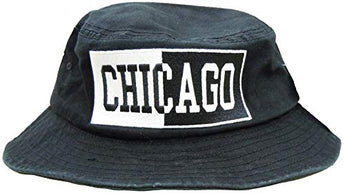 Embroidered Chicago Distressed Black Bucket Hat - Fashionable Unisex Cotton Chicago City Summer Travel Hat - Hat for Dad - Perfect Souvenir Gift for Men, Women & Kids