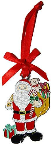 CityDreamShop Santa Coming with Gifts Metal Engraved Christmas Seasonal Decorative Ornament- Featuring Red Ribbon