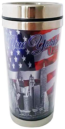 New York City Skyline Waving Flag of The USA Souvenir Outdoor Stainless Steel Insulated Travel Mug