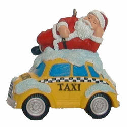 Santa on Taxi NYC Christmas Ornament
