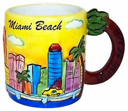 Miami Mug - Yellow Hand Painted, Florida Coffee Mugs, Miami Souvenirs, Florida Souvenirs, Florida Souvenir