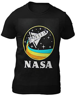 CityDreamShop NASA Retro Rocket-Ship Short Sleeve T-Shirt (XXL) Black