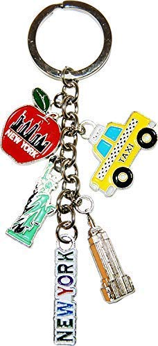 New York City 5 Charm Souvenir Keychain Featuring Statue of Liberty, NY Taxi, Empire State Building and the Big Apple