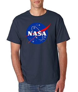 Gildan NASA Meatball Logo White, Blue or Gray T-Shirts (Large, Navy)