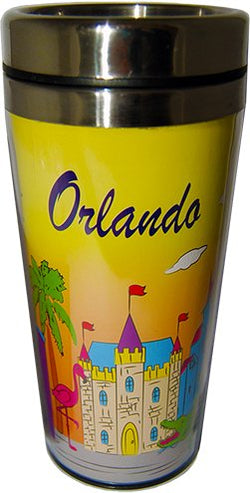 Collection of City Branded Beautifully Designed Travel Mugs (Orlando)