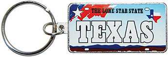 State of Texas Souvenir License Plate Keychain- Featuring the lone star state