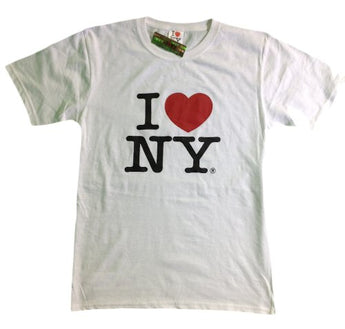 I Love NY New York Short Sleeve Screen Print Heart T-Shirt White Small
