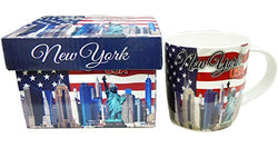 New York City Skyline Waving Flag of The USA 12 oz Coffee Mug New Bone China with Nail Box