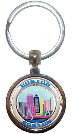 Boston City Skyline Souvenir Metal Double Spinner Durable Novelty Keychain