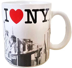 I Love NY City with Red Heart Skyline Souvenir Durable Heavy Solid Base 11 oz Ceramic Coffee Mug
