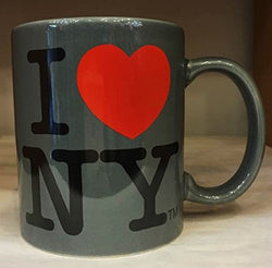 Licensed I Love NY Mugs in All Colors (11 oz) with inscription (Gray)