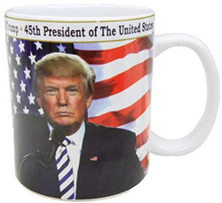 President Donald Trump ceramic mug. 45th President of the United States hot coffee or tea mug with gold rim