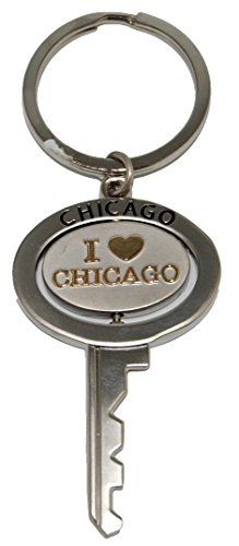 Chicago Souvenir Metal Replica Key Keychain Featuring The I Heart Chicago Logo That Spins