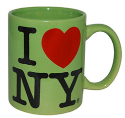I Love New York Colorful Mugs- 11 oz Double Sided I Love NY Mugs in Colors Yellow, Pink, Orange, Blue, Purple, Black and White Souvenirs (Green)