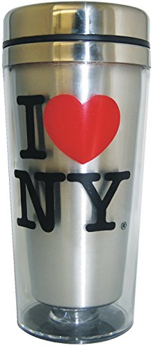 I Love New York Silver Souvenir Travel Mug (Silver)