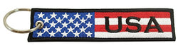 USA Flag Key Chain, 100% Embroidered