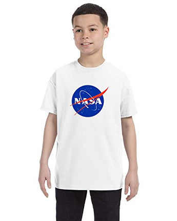 NASA Meatball Logo Youth Shirt Space Shuttle Rocket Science Geek Boys Kids GirlsTee (Small, White)