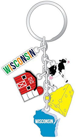 State of Wisconsin 5 Charm Souvenir Keychain Featuring The Famous Wisconsin Farm and Cheese