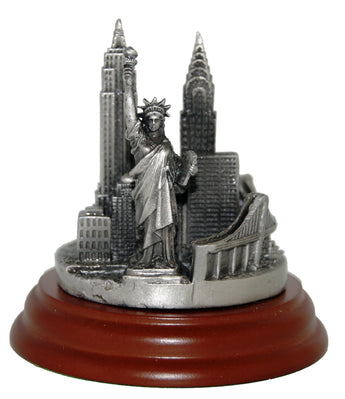 New York City Pewter Skyline Replica Paperweight Monument