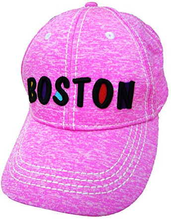 Embroidered Boston Pink Cap | Fashionable Unisex Cotton Adjustable Distressed Boston City Baseball Cap | Cap for Dad | Perfect Souvenir Gift for Men, Women & Kids