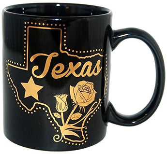 State of Texas Black and Gold Designed Collection of Texas Drinkware and Souvenirs (Large Soup Mug)