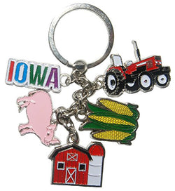 State of Iowa 5 Charm Keychain