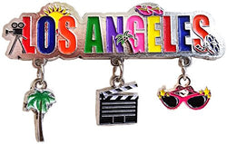 Los Angeles California, Hollywood Themed 3 Charm Souvenir Refrigerator Magnet Featuring Hollywood Camera, Cool Shades and Palm Trees