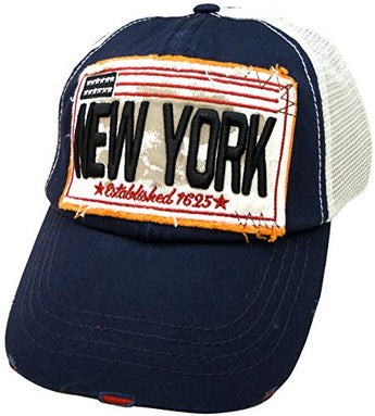 Embroidered New York Navy Cap - Fashionable Unisex Cotton Adjustable Distressed New York City Baseball Cap - Cap for Dad - Perfect Souvenir Gift for Men, Women & Kids