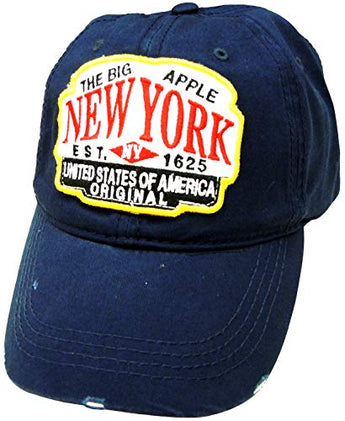 Embroidered New York USA Navy Cap - Fashionable Unisex Cotton Adjustable Distressed New York City Baseball Cap - Cap for Dad - Perfect Souvenir Gift for Men, Women & Kids
