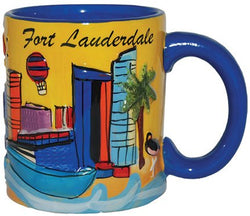 Fort Lauderdale Florida Hand Painted 11 Ounce Coffee Mug- Featuring the skyline of Fort Lauderdale