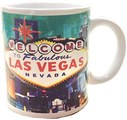 Las Vegas City with Welcome Sign Skyline Embossed Souvenir Heavy Solid Base 11 oz Teal Ceramic Coffee Mug