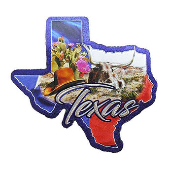 Texas State Shaped Collage Super Magnetic Foil Refrigerator Magnet