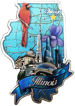 State of Illinois Shaped Refrigerator Foil Magnet- Featuring Chicago
