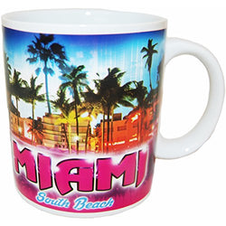 Miami Florida 11 ounce Souvenir Coffee Mug With Miami Sunset Design