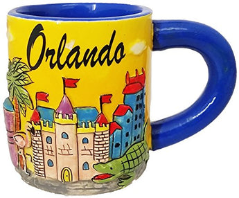 Orlando Florida Hand Painted 11 Ounce Coffee Mug- Featuring Sand Castle Design