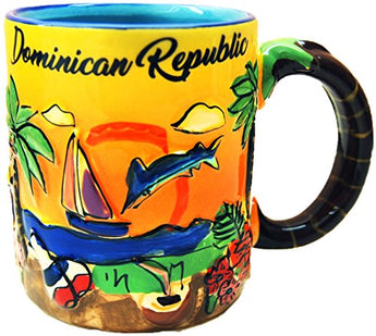 Dominican Republic Hand Painted 11 Ounce Coffee Mug- Featuring beautiful ocean Design