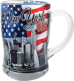 CityDreamShop New York USA Glass Beer Mug- Featuring The New York Skyline and American Flag