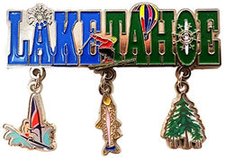 Lake Taho 3 Charm Dangle Metal Magnet