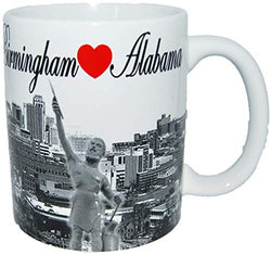 Birmingham Alabama Black and White Skyline Coffee Mug- Featuring Heart Birmingham