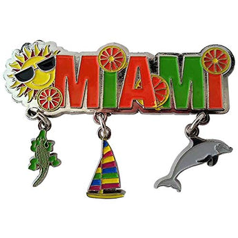 Miami Beach 3 Charm Magnet Souvenir Metal Super Magnetic Refrigerator Dangle Magnet
