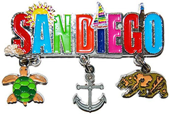 San Diego Beach Colorful Souvenir Magnet- Featuring 3 Detailed Charms of San Diego
